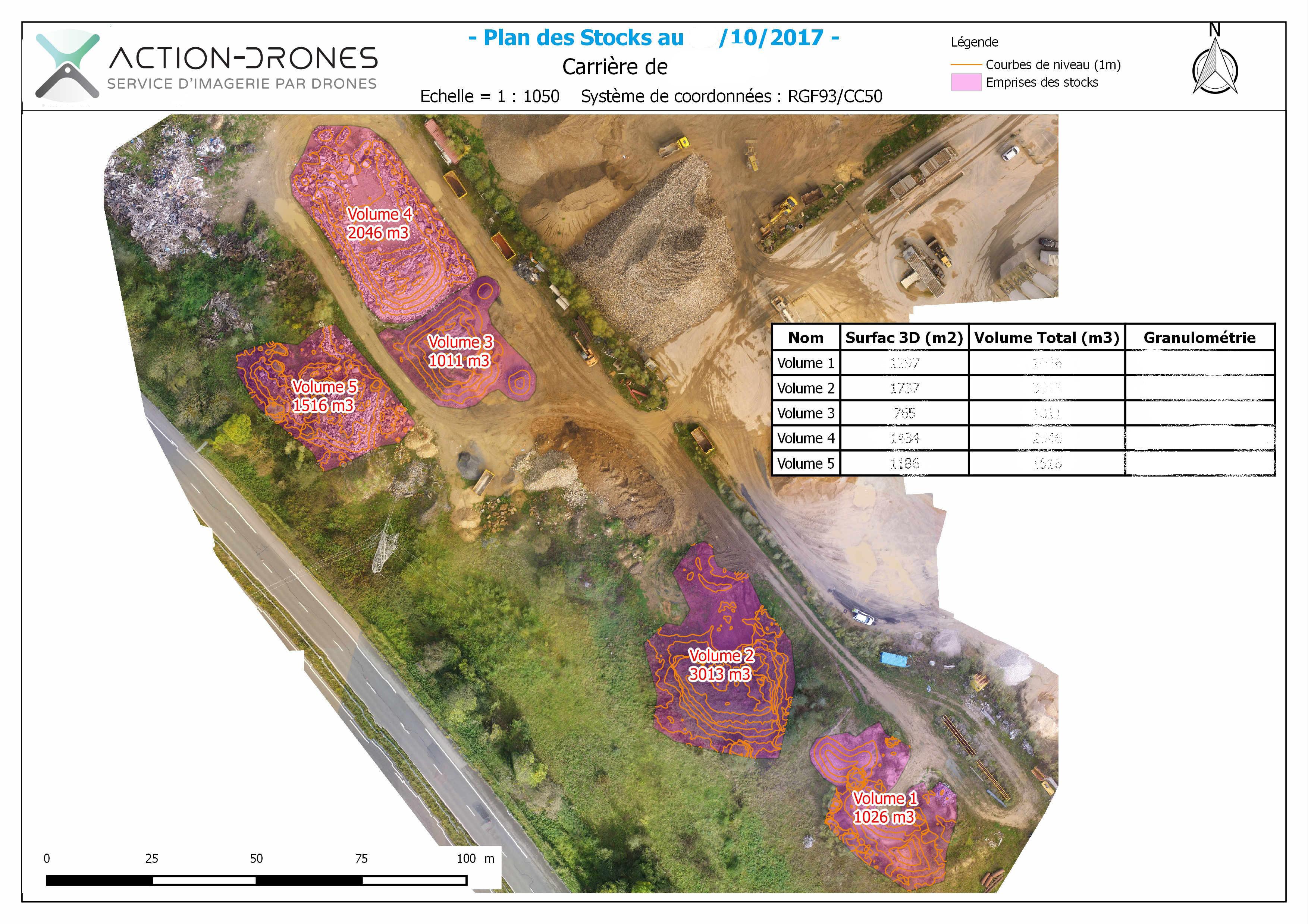 Plan des stocks par drone